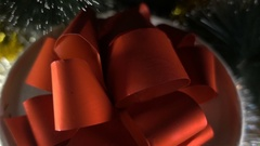New Year. Christmas composition with branches of spruce and gift - close HD Stock Footage