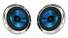 Blue loudspeakers looping 3D animation with alpha mask Stock Footage