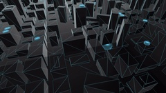 3D City Map Blue Wireframe fly fly by Stock Footage
