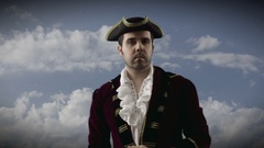 Colonial man 1700 tricorn hat Stock Footage