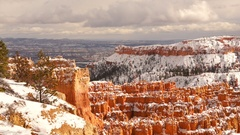 Fresh Snow Blankets Bryce Canyon Rock Formations Utah USA Stock Footage