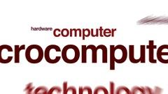 Microcomputer animated word cloud. Stock Footage