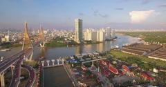 Chao Phraya River, Bhumibol Bridge and Temple, Aerial Drone Footage Stock Footage