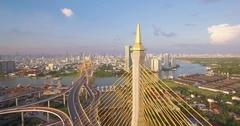 Drone Approach Shot of Bhumibol Bridge and Chao Phraya River in Bangkok Stock Footage