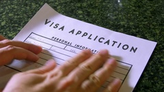 Visa application work visa workvisa Stock Footage
