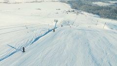 Lifting by the ski-lift to the summit. Stock Footage