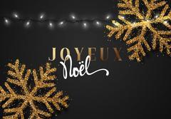 Merry Christmas. French inscription. Joyeux Noel. Stock Illustration