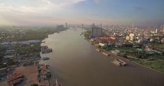 Bhumibol Bridge and Chao Phraya River Aerial Pan Shot Stock Footage