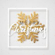 Christmas background with Shining gold Snowflakes. Stock Illustration