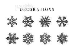 Snowflakes decoration Christmas and New Year's symbols. Stock Illustration