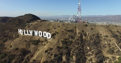 Hollywood sign aerial high angle moving across letters in Los Angeles 4K Stock Footage