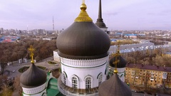 Aerial shot of russian city - Voronezh. The Annunciation Cathedral. 4K Stock Footage