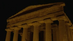 Temple Concordia Night view Stock Footage