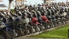 Motorcycle parking Nha Trang. Vietnam Stock Footage