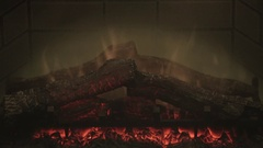 Fireplace Red Fire Coals Warm Hearth Ambiance Stock Footage