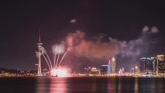 View of the city of Macau, fireworks Stock Footage