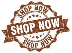 Shop now stamp. sign. seal Stock Illustration