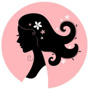 Romance girl floral silhouette in pink circle Stock Illustration