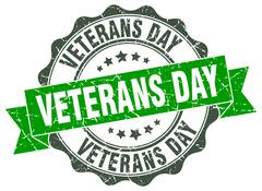 Veterans day stamp. sign. seal Stock Illustration
