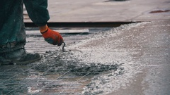 Alignment Concrete Screed. Slow Motion Stock Footage