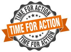 Time for action stamp. sign. seal Stock Illustration