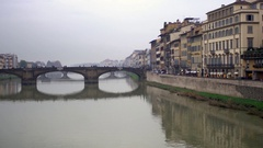 Bridge over the River Arno and surroundings, Florence, Italy. 4K Stock Footage