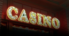 Flashing and sparkling neon casino sign loopable video. Stock Footage