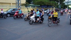 A lot of mopeds. Traffic at rush hour. Stock Footage