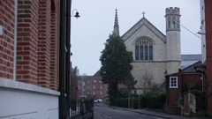 Traditional Church in a typical English town in England Stock Footage