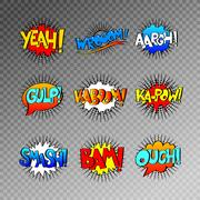 Collection of nine multicolored comic sound effects in pop art s Stock Illustration