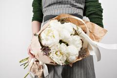 Fresh bright blooming peonies flowers on white background Stock Photos