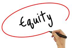 Man Hand writing Equity with black marker on visual screen. Isolated on bac.. Stock Photos