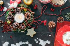 The decoration of the Christmas table Stock Photos