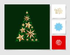 Set of christmas decoration background, snowflake and handwritte Stock Illustration
