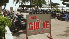 Vietnam. Motorcycle parking Nha Trang Stock Footage