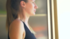 Young woman makes exercise with dumbbell Stock Footage
