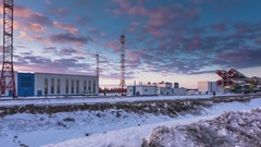 """Removal of a space rocket """"Union"""" (Russia) time-lapse Stock Footage"""