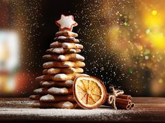 Homemade Gingerbread cookies Christmas Trees Stock Photos