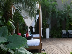 Mexico luxury resort adult retreat beds in jungle DCI 4K Stock Footage