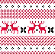 Norwegian ornamental Christmas pattern ( red and white ) Stock Illustration