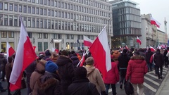 WARSAW, POLAND - DECEMBER, 17, 2016. People with Polish and EU flags marching in Stock Footage