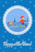Vector illustration of congratulation card new year with little child pulling a Stock Illustration