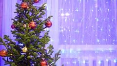 Bokeh Christmas light Christmas tree Stock Footage