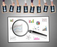 Data analysis concept on a whiteboard Stock Photos