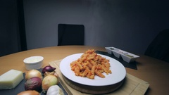Hot Pasta with tomato Sauce, Parmesan Cheese on a Spoon Stock Footage