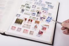 Old postage stamps collection Stock Photos