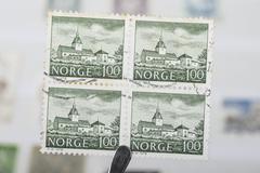 Old Norwegian stamps Stock Photos