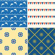 Set of seamless background nautical theme such as dolphin Piirros