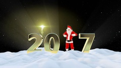 Santa Claus Dancing 2017 text, Dance 5, winter landscape and fireworks Stock Footage