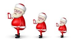 Three Santa Claus Bear Gift Stock Footage